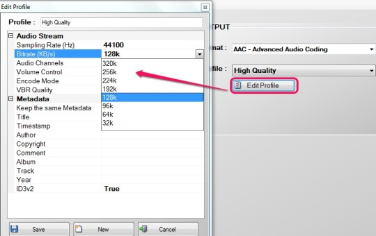 Free Audio Converter 4dots- edit outut profile
