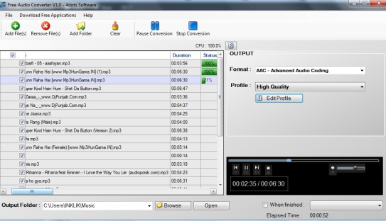 Free Audio Converter 4dots- main interface