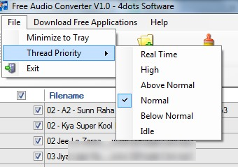 Free Audio Converter 4dots- select thread priority
