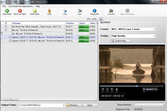 Free FLV To MP3 Converter- interface