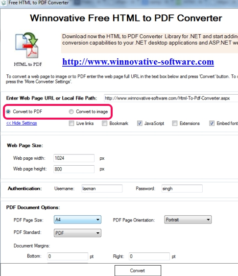 Free HTML To PDF Converter- interface