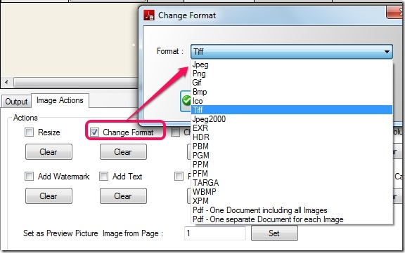 Free PDF Image Extractor 4dots- select output format