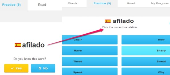 Lingua.ly- practice added words