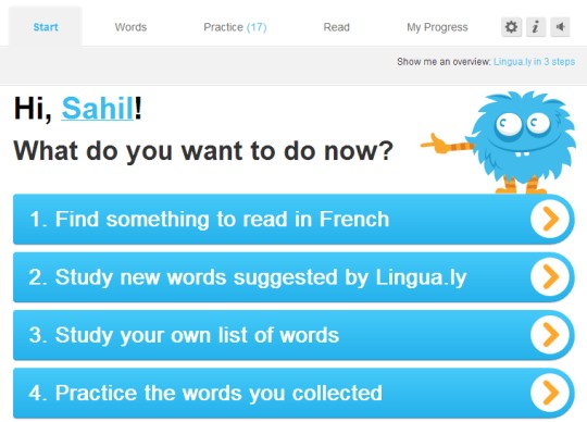 Lingua.ly- start section