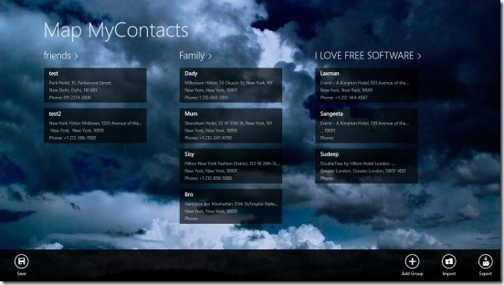 Map MyContacts - main screen