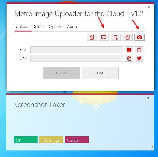 Metro Image Uploader creating screenshot