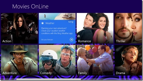 Movies Online - home screen