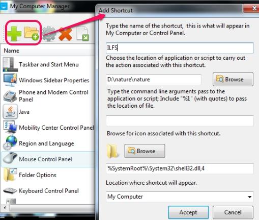 My Computer Manger- add shortcut