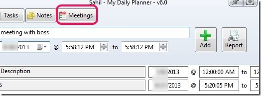 My Daily Planner- add meetings