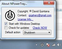 NPowerTray- power options- start with Windows startup