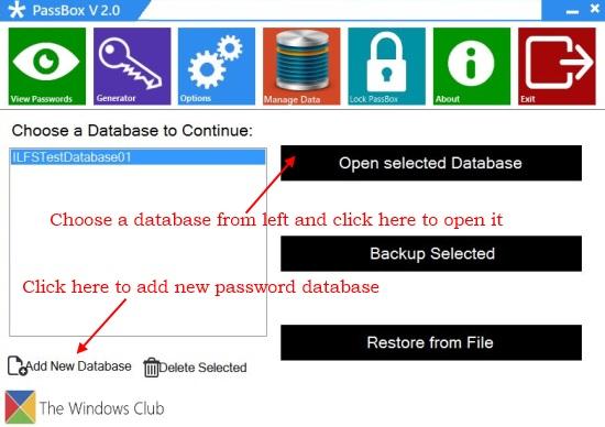 PassBox - Create and Open Password Database