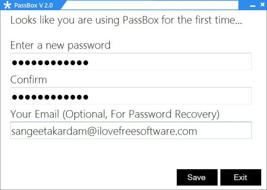 PassBox - Free Password Manager - Creating Master Password