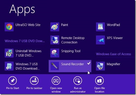 Pinning apps to Windows 8 Start Screen