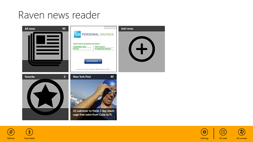 Raven News Reader control bar