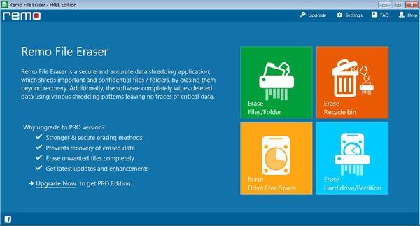 Remo File Eraser default window