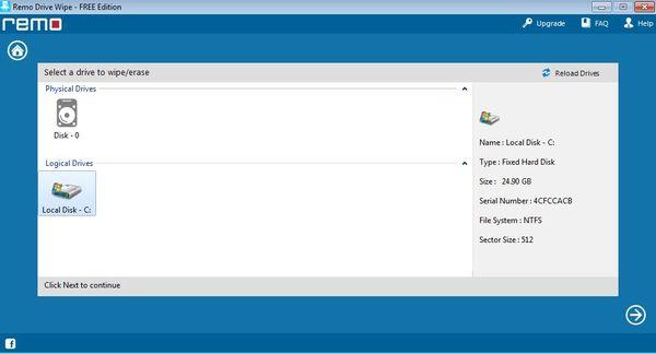 Remo File Eraser deleting free space