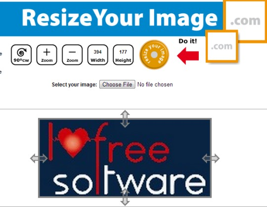 Resize Your Image- use buttons or arrows to resize image