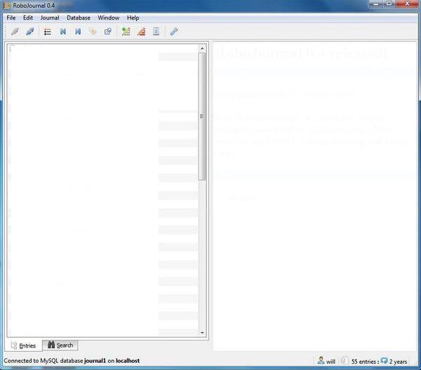 RoboJournal default window