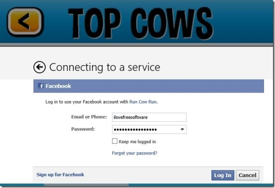 Run Cow Run - connecting to Facebook
