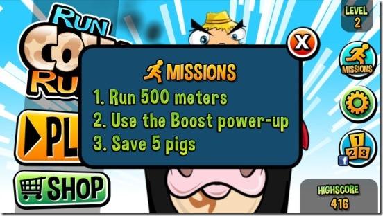 Run Cow Run - missions