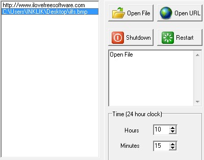 Scheduler software- add a file to open at specific time