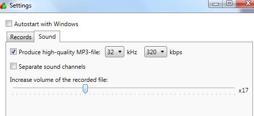 SkypeAutoRecorder- Sound tab