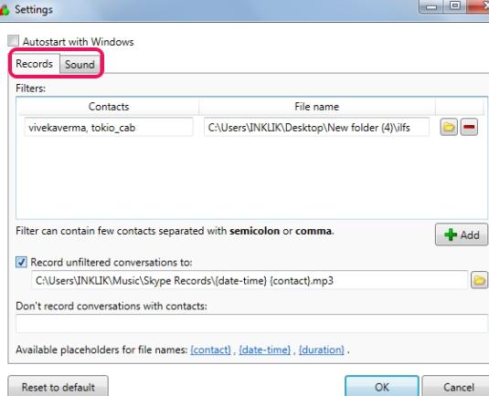 SkypeAutoRecorder- settings window