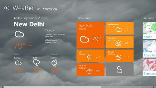 Storm Weather main screen