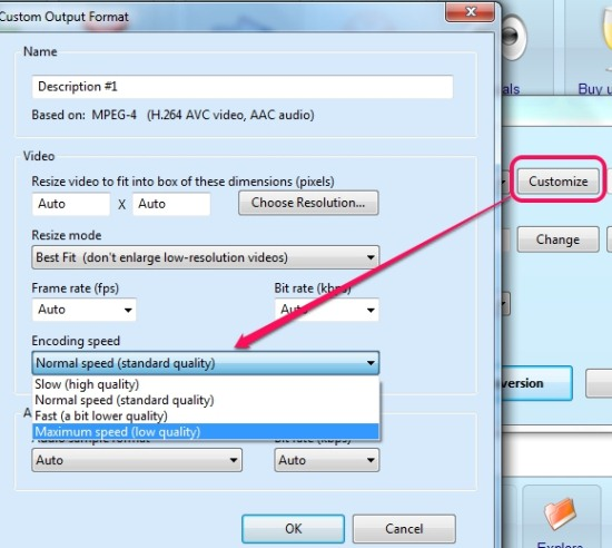 SuperSimple Video Converter- select conversion speed
