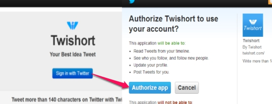 Twishort- sign in to Twitter and authorize Twishort