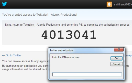 Twittalert- twitter desktop authorize the app and enter pin