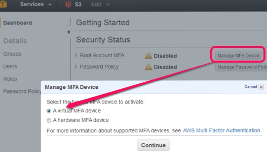 Two Step Authentication in Amazon Web Services- manage MFA device