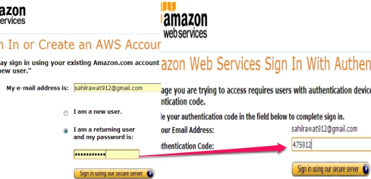 Two Step Authentication in Amazon Web Services