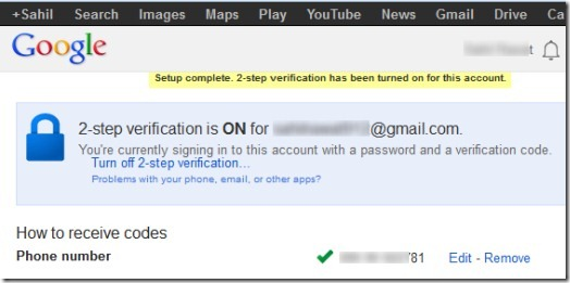 Two Step Authentication in Gmail- setup complete