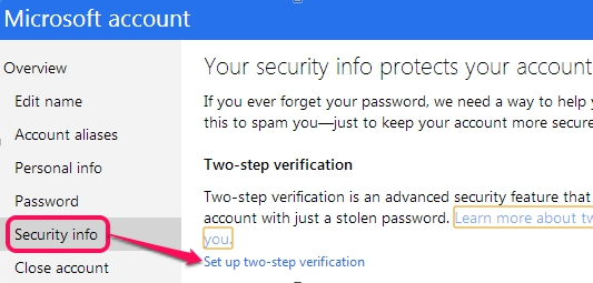 Two Step Authentication in Hotmail- setup two step verification option