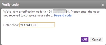 Two Step Authentication in Yahoo! Mail- enter code