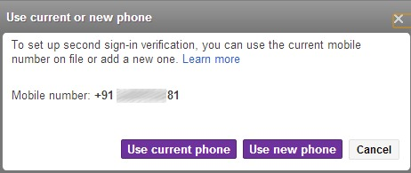Two Step Authentication in Yahoo! Mail- use current or new phone option