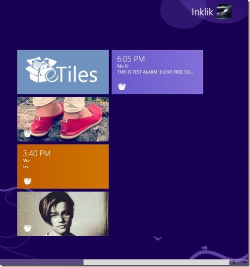 eTiles - custom tiles on start screen