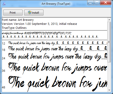 preview of font