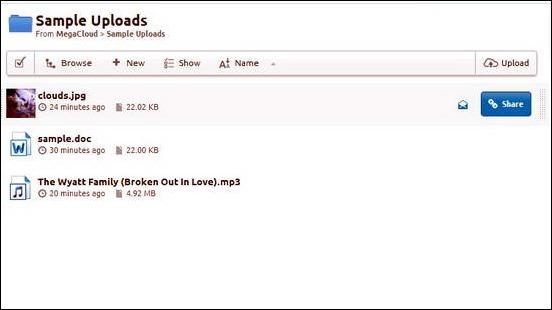MegaCloud - Uploaded Documents