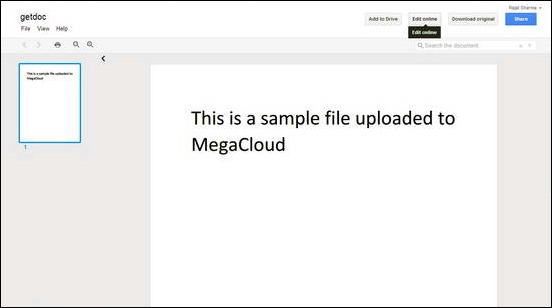 MegaCloud - Editing Document