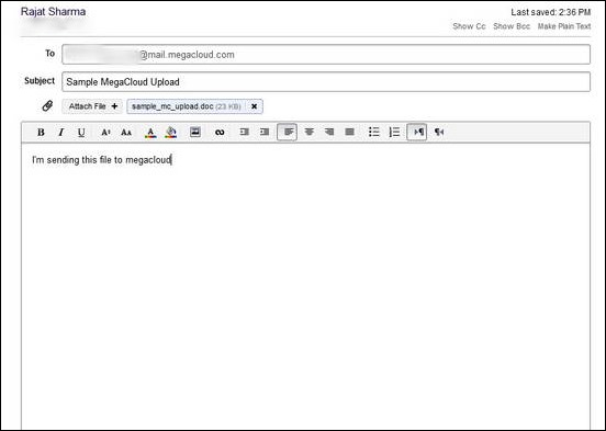 MegaCloud - Composing New Mail