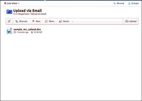 MegaCloud - Upload via Email Folder