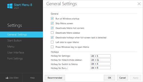 start menu 8 settings