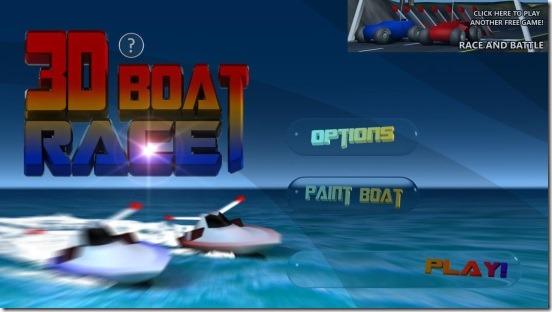3D Boat Race - main screen