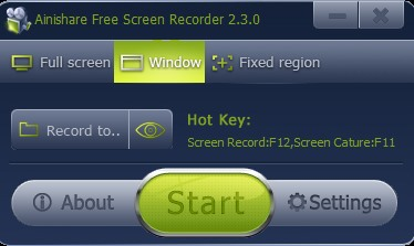 Ainishare Free Screen Recorder- main interface