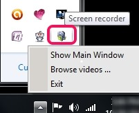 Ainishare Free Screen Recorder- system tray icon