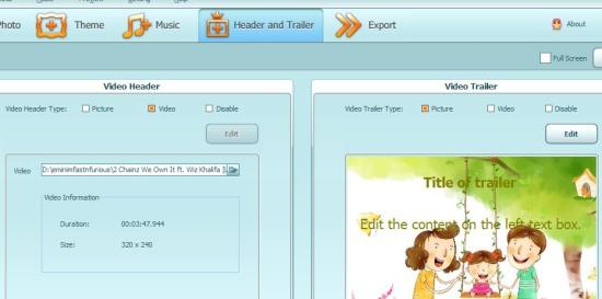Ainishare Slideshow Video Maker- add header & trailer