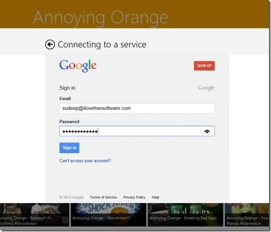 AnnoyingOrange - connecting to Gmail