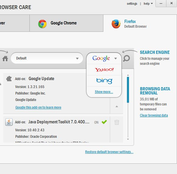 Auslogics Browser Care deleting cache addons